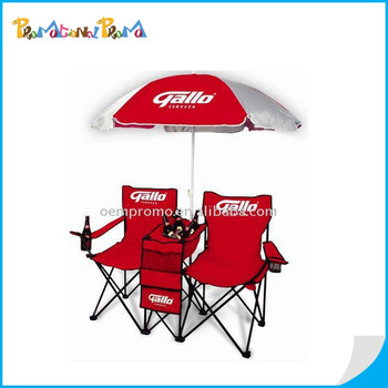 2 Person Folding Beach Chair With Umbrella And Table For Camping ...