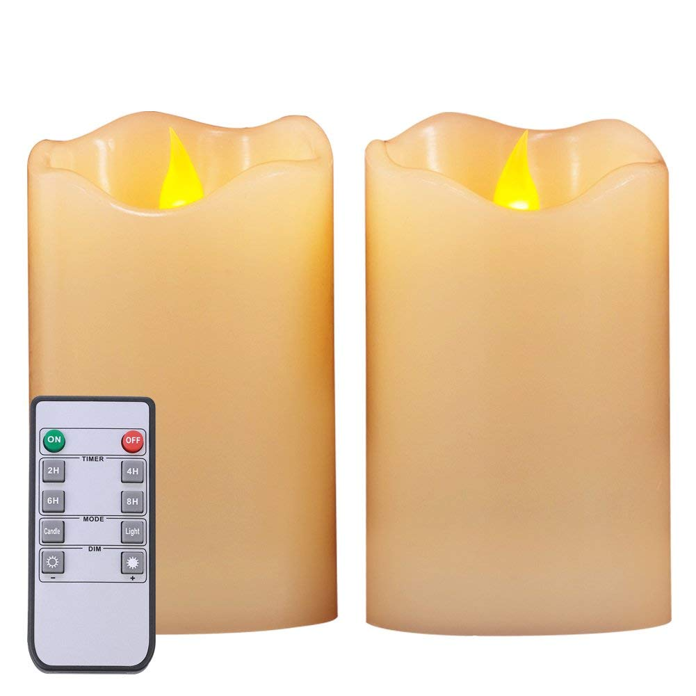 """Homemory 3""""x 5"""" Set of 2 LED Wax Flameless Candles with 10-Key Remote Control, Battery Operated Timer Candles Pillar,Amber Yellow, 2/4/6/8 Hours Timer"""