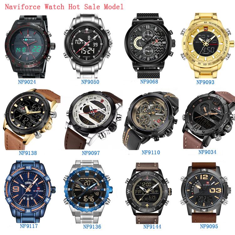 NF 9093 Luxury Brand NAVIFORCE Men Waterproof Full Steel Watches Men's Quartz LED Digital Clock Male  Relogio Masculino