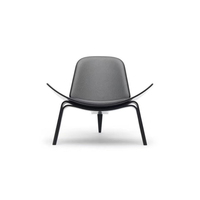 Bentwood Black Lounge Reupholster Living Room Hans Wegner Style Wing Smiling Three-legged Shell Wood Chair