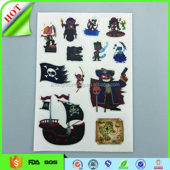 Custom diy 3d cartoon kids wall sticker vinyl stickers printingtransparent sticker pvc waterproof sticker