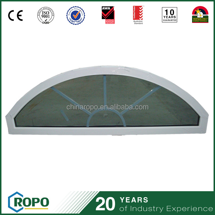 Upvc profile double glass gill design arch window with trade price