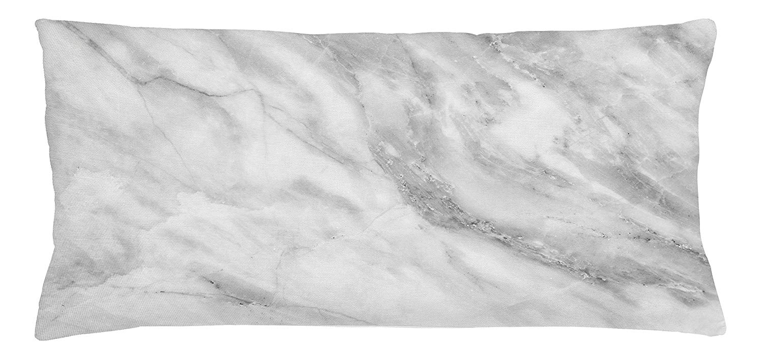 Ambesonne Marble Throw Pillow Cushion Cover, Marble Surface Textured Hazy Cracks and Veins Shady Limestone Ceramic Artful Print, Decorative Square Accent Pillow Case, 36 X 16 Inches, Grey Dust