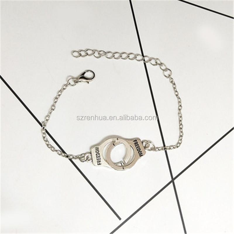 83315b679850 Pulseras del encanto de las mujeres de los hombres Retro pulsera de cadena  de enlace brazalete