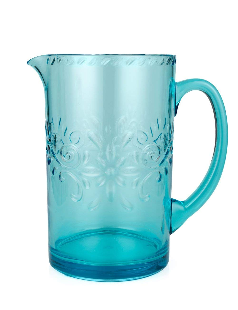 Plastic Pitcher of Blue Large (2.5 quart) BPA Free Dishwasher Safe Reusable Great for Homemade Juice & Iced Tea or for Glass Milk Bottles By AYT