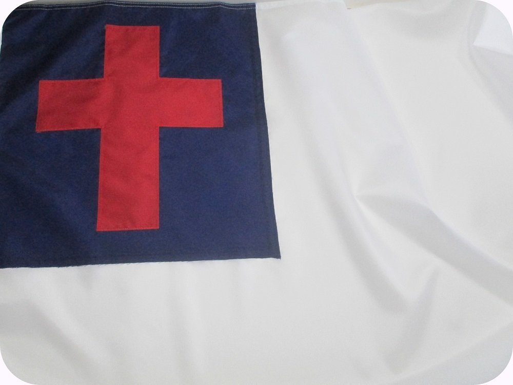 CHRISTIAN FLAG 3x5 ft - Beautiful Outdoor CHRISTIAN FLAG Fully Sewn using Durable All Weather FADE RESISTANT PREMIUM SOLARMAX NYLON with APPLIQUED CHRISTIAN CROSS 100% Made in USA