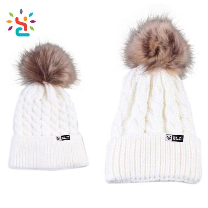 23fa87e7af6 Wholesale pompom hat running beanie hats baby boy girls wool Knitted hat  custom kids white jacquard pom beanies with top ball
