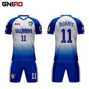 2019 football shirt maker thai quality custom sublimation blue and white soccer jersey with collar