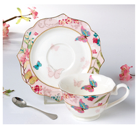 best selling sweet wedding pattern coffee/tea cup and saucer with spoon tea set