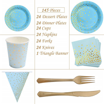 Blue and Gold Party Supplies Golden Dot Navy Themed Party Set Includes 7inch 9inch Paper Plates Napkins Knives Forks Cups Banner