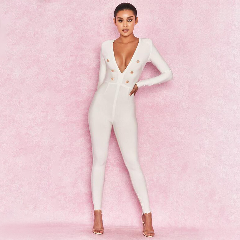 Pre-sale 2019 winter white black ladies sexy V neck slim fit autumn jumpsuit mujer long sleeve one piece jumpsuit for women фото