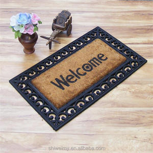 Welcome rubber coir molded brush door mats