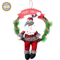JHTL010 RDT Christmas Day Door Hanging Artificial Flower Wreath Garland with Cartoon Santa Claus Snowman Plush Doll