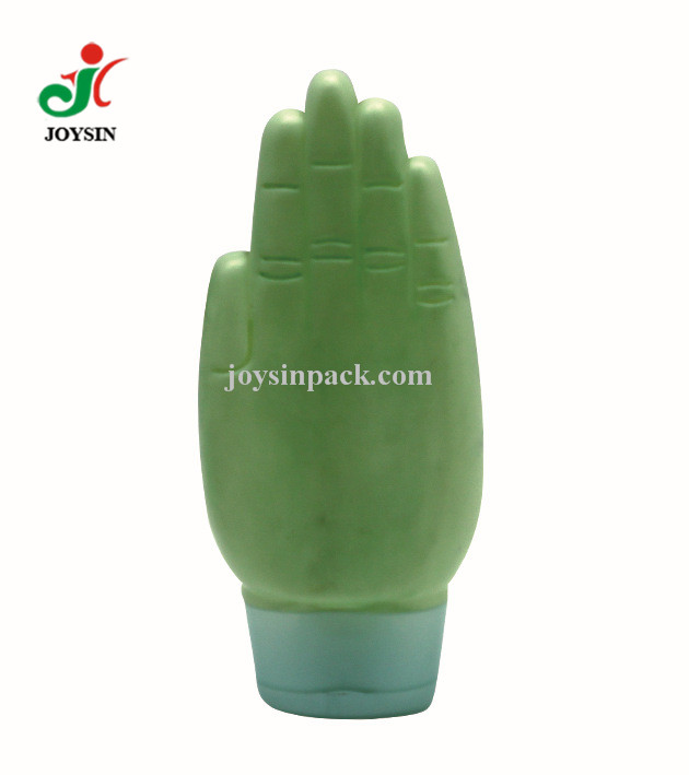 HDPE 100ml Container Hand Shaped Hand Cream Lotion Facial Cleanser Plastic Tottle Packaging PE Bottle with Flip Top Cap
