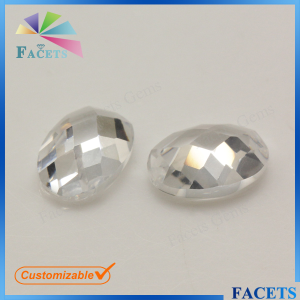 FACETS GEMS Rough Cubic Zirconia Prices Oval Cut Flat Back White Madagascar Gemstones Sale