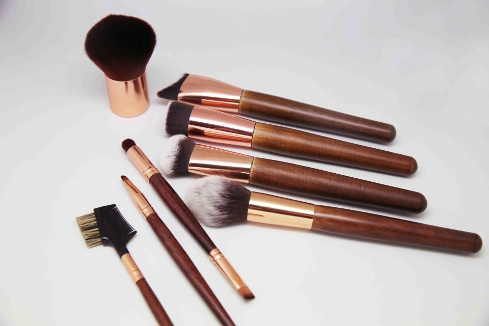 new design private label makeup brush zoreya rose gold oval makeup brush set