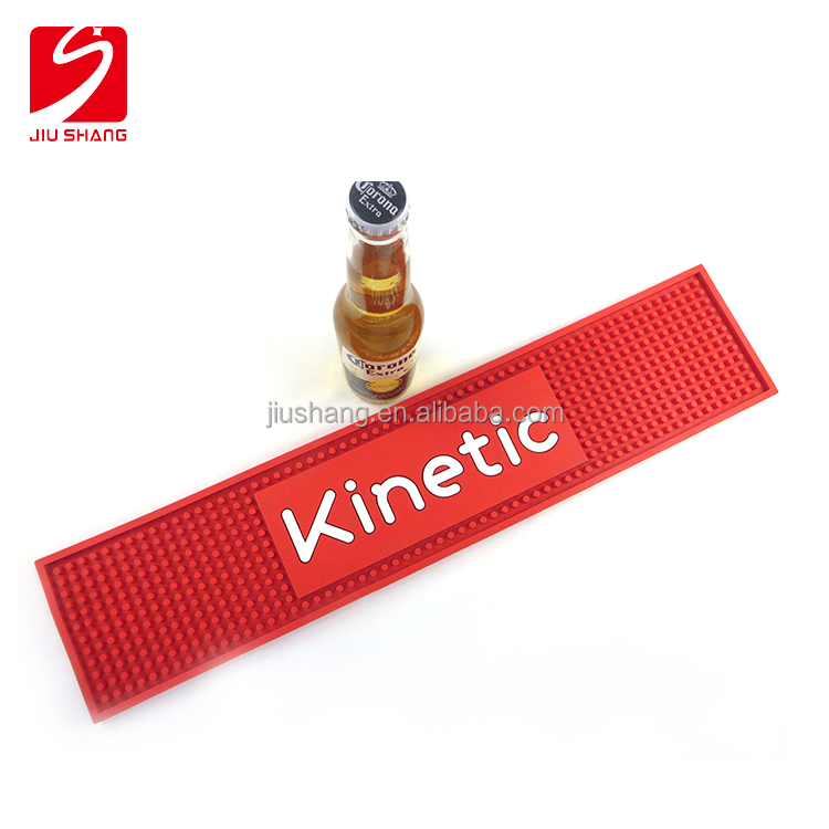 Anti slip red PVC bar runner with wooden box