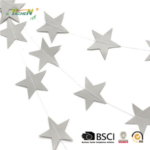 1.2m Golden Silver Star Glitter Garland Bunting Christmas Home Party Hanging Decoration