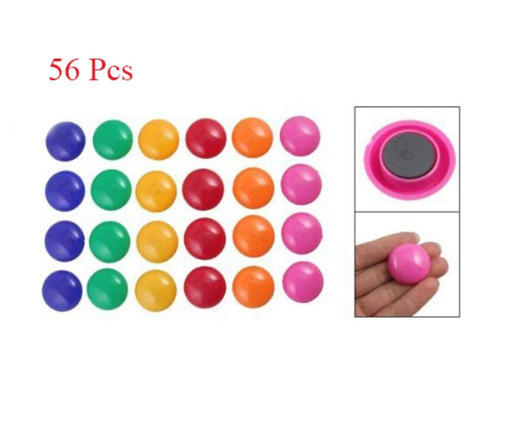 Louise Maelys 56 Pcs Assorted Color Round Presentation Whiteboard Magnetic Fridge Magnets for Home Office School