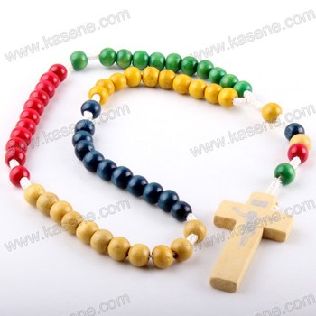 Factory 6mm Italian christian religious multicolour wood beads chain cord rosary