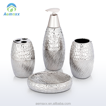 Fashionable Inexpensive Bathroom Set Embossed Silver Plating Ceramic Luxury Accessories