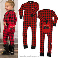 Wholesale Cotton Children Pajamas Bear Cheeks Plaid Kids Onesie Pajamas Winter Funny Pajamas HSK9076