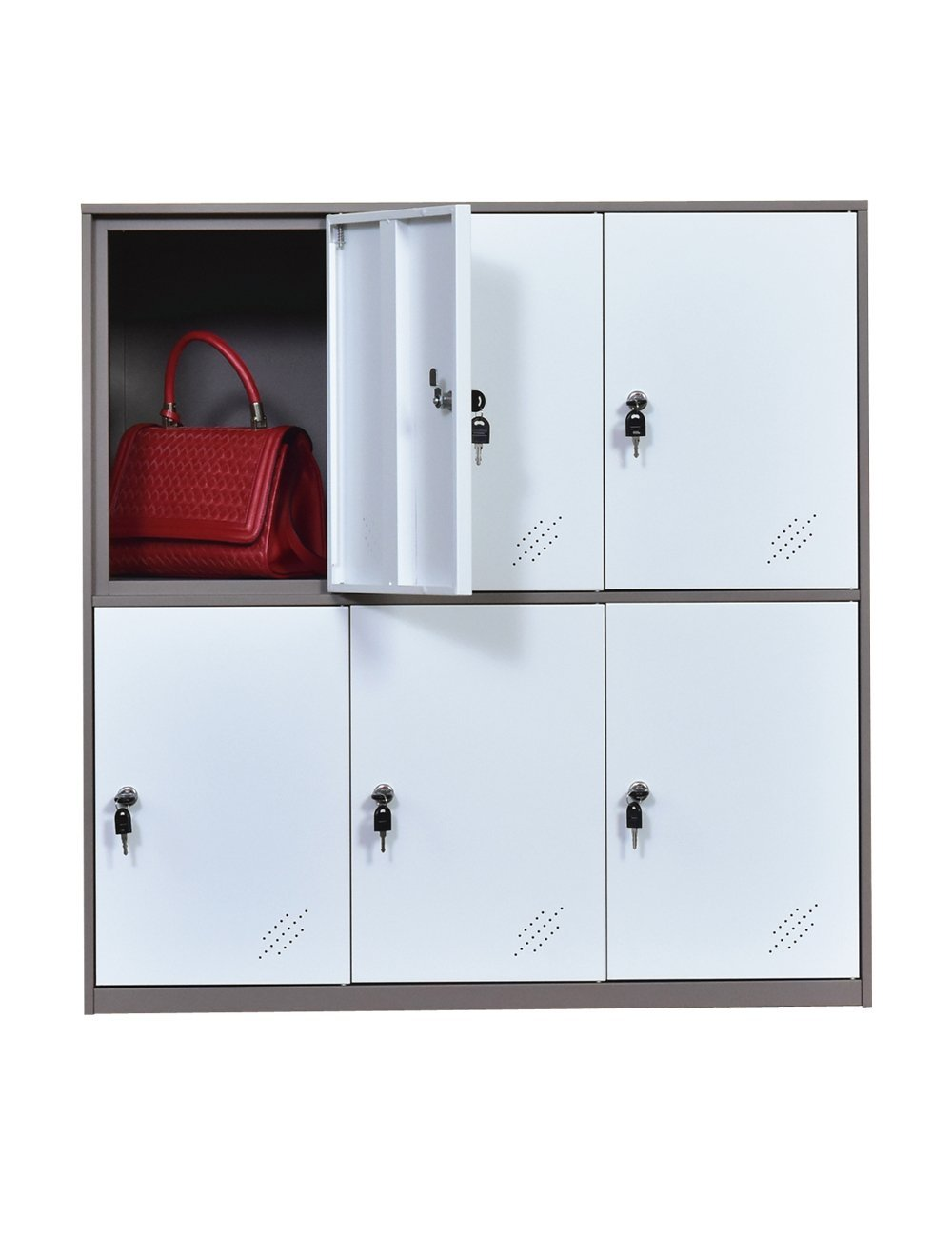 Metal Office and Home Locker Cabinet with 6 Doors Storage for Cloth Shoes or Bags,Two Layer 3 componet Locker Cabinet, Metal Cabinet for School and Living Room