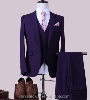 df77a6ef94 Spring New Fashion Designer's Suit Purple Pant Coat 3 Piece Tuxedo ...