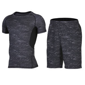 Quick dry summer two pieces workout men sport wear fitness shorts sets/ sports clothing running Gym suits