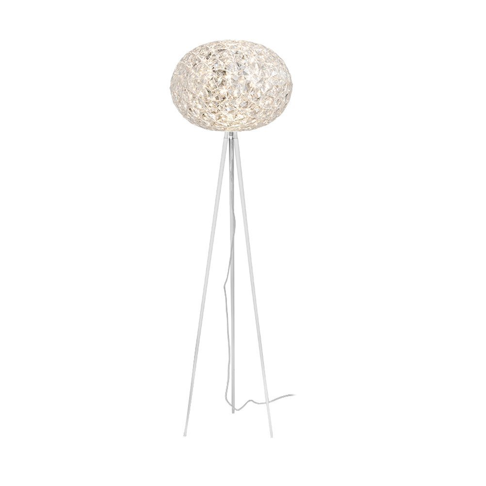 WAN SAN QIAN- Postmodern Creative Crystal Ball LED Lamp Iron Vertical Bedroom Living Room Floor Lamp Silver Warm Light Floor Lamp (Size : L)
