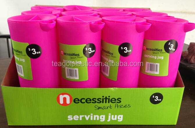 1.5L plastic Serving water filter pitcher jug (Pink) in display box packing #TG1009EG