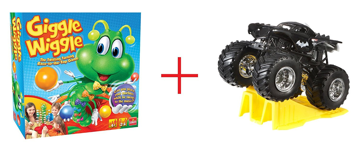 Goliath Games Giggle Wiggle Kids Game and Hot Wheels Monster Jam 1:64 Scale Diecast Truck (Colors/Styles May Vary) - Bundle