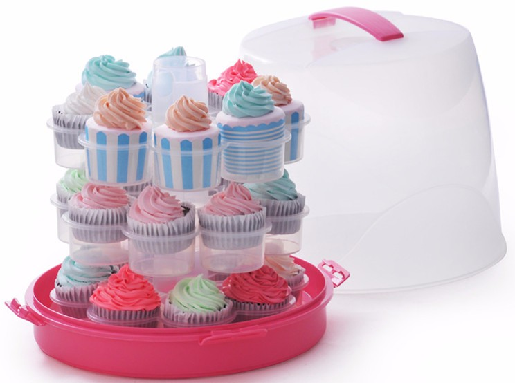 Food Grade Plastic Cake Carrier 24 Mini Cupcake Carrier With 3 tier Cupcake Carrier