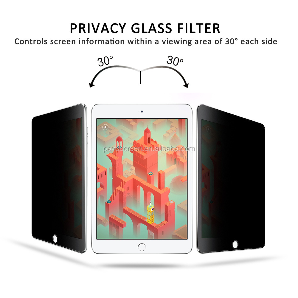 Pavoscreen lcd monitor glass screen protector for ipad Samsung P5210 anti-spy flim filter