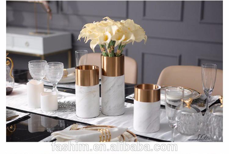 Home Flower Vase Aluminum Natural Marble Home Decor