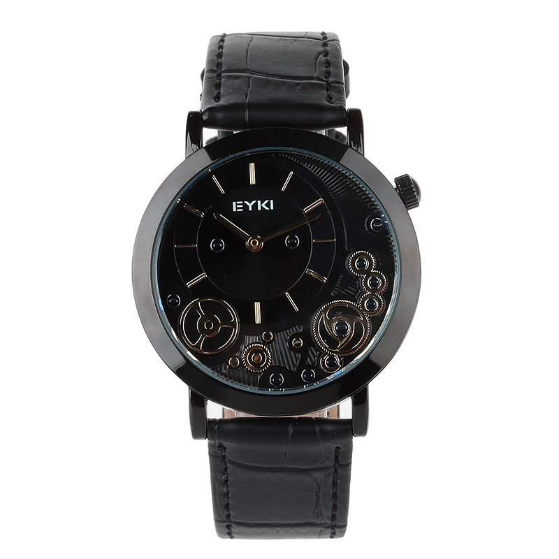 Stainless Steel EYKI EET8816L-B0202 Men's Fashion Casual PU Leather Strap Quartz Waterproof Wristwatch - Black