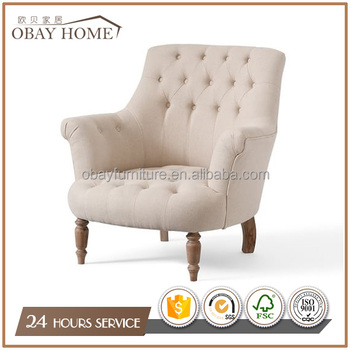 Recommend Soft Comfortable Upholstered Armchairs Linen Fabric chair for lounge Wooden leisure chairs With Buttons