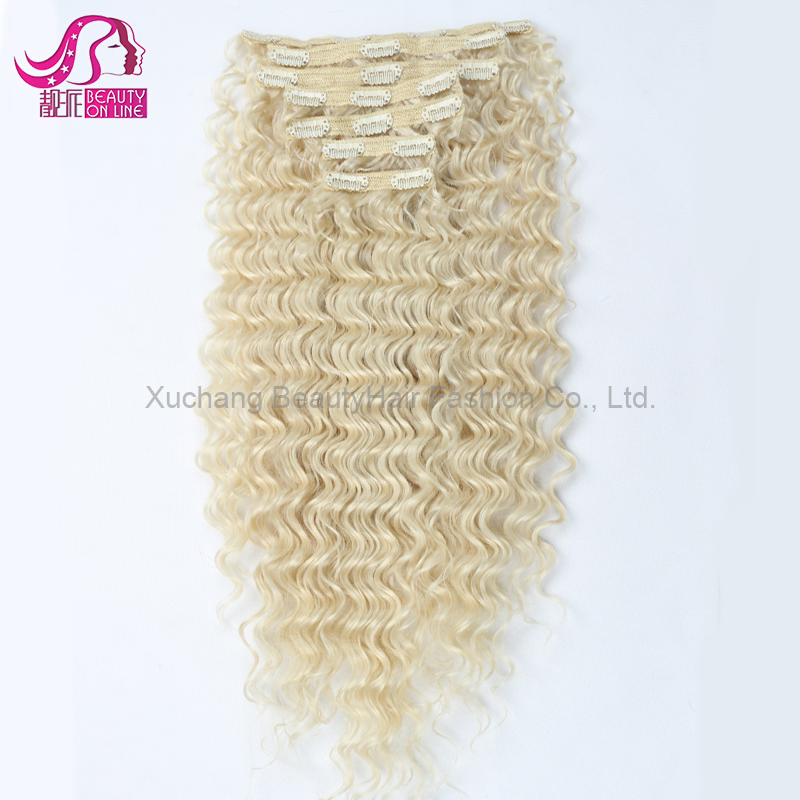 Dropshipping Full Head Double Drawn Triple Weft Blonde Curly Clip hair /Cheap 100% Human Remy Hair Quad Weft Clip In Hair Extens
