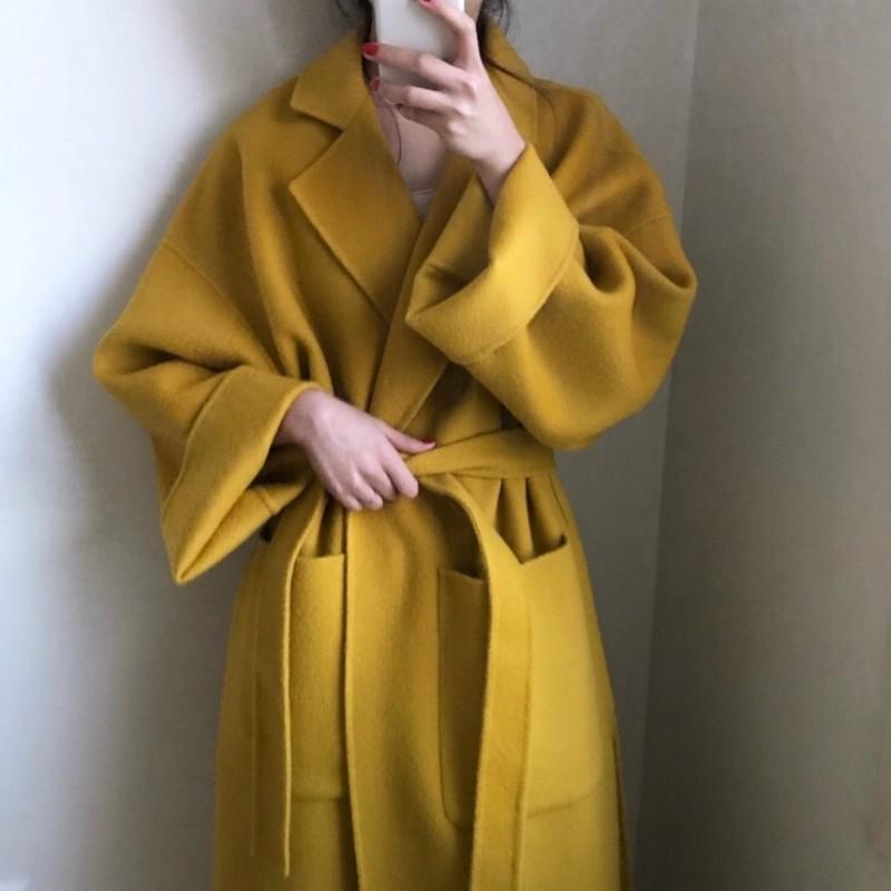 Alibaba.com / Women Elegant Winter Cashmere Overcoat Long Bandage Woolen Coat Cardigan Loose Plus Size Abrigos Mujer Manteau Femme Hiver