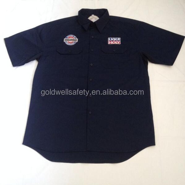 Plus tamaño de algodón de manga corta camisas de trabajo