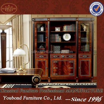 0010 Spain Design Antique Wooden Bookcase With Sliding Glass Doors