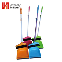 Multiple colors durable house cleaning broom plastic dustpan and brush set