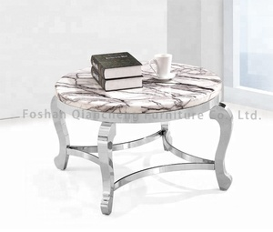 Modern living room chromed brushed stainless steel clear round marble coffee table