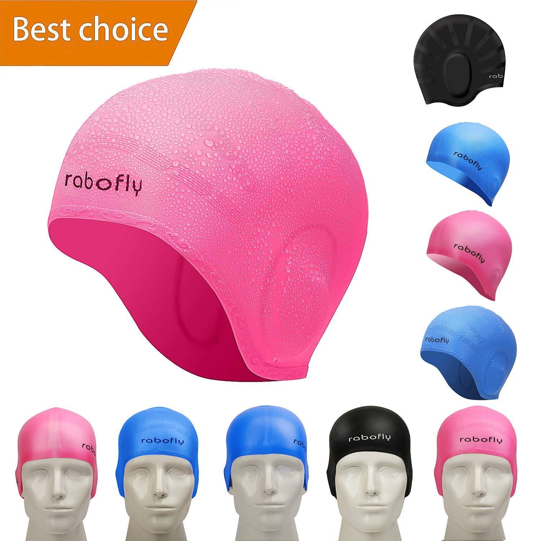 9c998e1de27 Get Quotations · rabofly Swim Cap Mens Womens Boys Toddler Baby Kids Little  Girls Infant - Swimming Hat Silicone