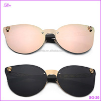 Sun glasses Big Frame Cateyes Women Sunglasses Rimless Metal Fashion Glasses