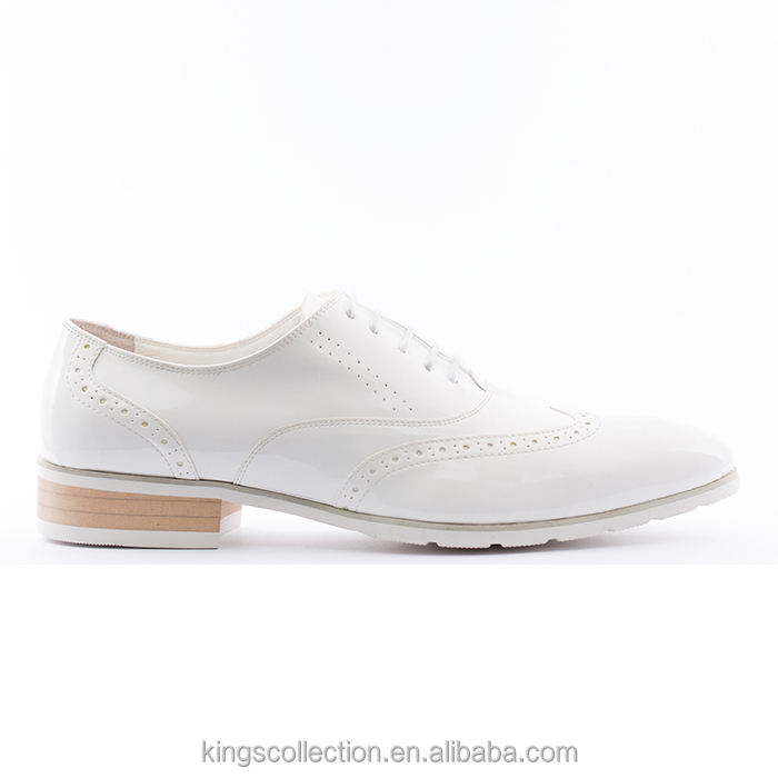 Tailor Made Low MOQ Wingtip Oxford Durable High Quality Cow Leather White Men Geniune Leather Wedding Shoes