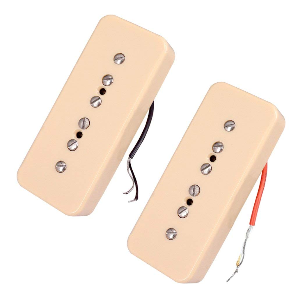 Blesiya Pack of 2 P90 Neck&Bridge Humbucker Pickups 50/52mm Pole Spacing for LP Electric Guitar Parts Accessories