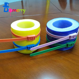 Domerry Adjustable PVC Colorful plastic self-locking Reusable plastic cable tie