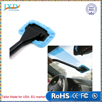 Microfiber Auto Window Cleaner Long Handle Car Wash Brush Dust Care Windshield Shine Towel Handy