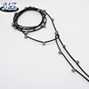pom beads leather choker necklace suede collar wrap choker